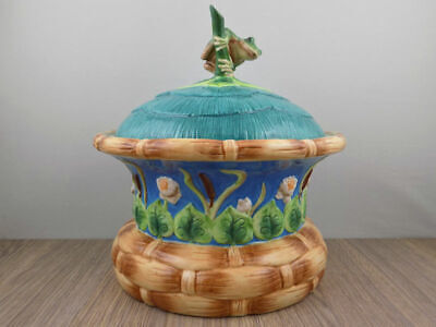 House of Hatten Lord of the Pond Cookie Jar Peggy Fairfax Herrick frog lily pad