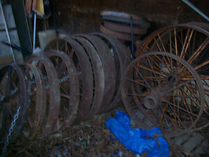 VINTAGE STEEL FARM MACHINERY WHEELS