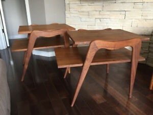 Tables de Salon en Noyer ** Mid Century ** Walnut End Tables