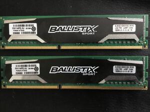 Crucial Ballistix Sport 8 gb DDR3 1600 Ram.