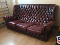Chesterfield Queen Anne Oxblood 3 seater leather sofa