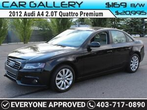 2012 Audi A4 2.0T QUATTRO w/Leather, Sunroof $169B/W YOU'RE APPR