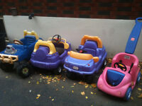 4 x Little tikes riding cars