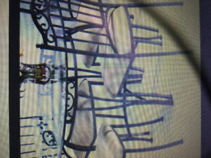 Wrought Iron & Round Glass Dining Set with 4 Chairs