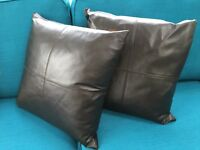 Brown leather cushions