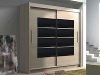Wardrobe TORONTO Oak Sonoma + Black Gloss