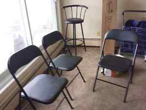 3 folding chairs and one bar Stool