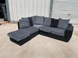 Black & grey corner sofa couch suite 🚚🚚