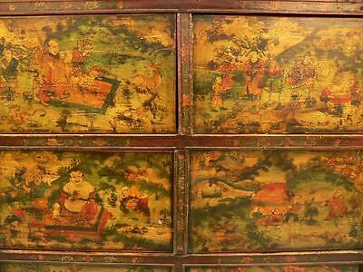 Tibetan Wood Altar Cabinet w/ Polychrome Scenes of the Life of Buddha ca. 19th c