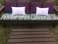 Handmade pallet patio sets with seat cushions