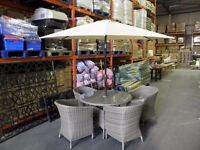 ratlan Worcester garden furniture 4 chairs i parasol i table glass top BRAND NEW £399
