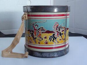ANCIEN TAMBOUR JOUET INDIEN EN MÉTAL *NOBLE COOLEY Co* USA 1950