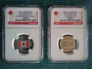 Monnaie Canada - 25 cent 2015 (2) MS-66 Émaillé et non émaillé