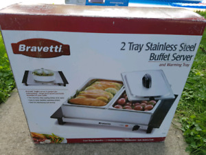 Bravetti 2 tray stainless steel buffet server and warming tray