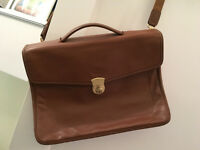 Longchamps leather briefcase - light brown