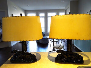 MID-CENTURY Kitsch PANTHER LAMPS fibreglass shades COOL art deco