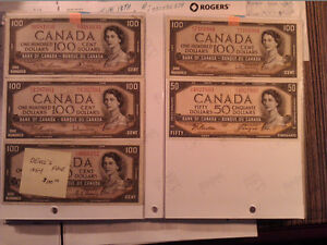 1954 Canadian paper money $100 Dollar Bill (currency) bank/note