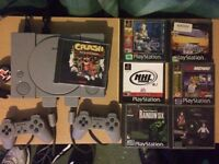 PlayStation 1, 2 controllers, 7 games