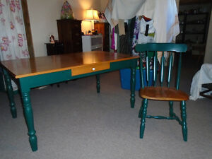 OAK TABLE AND CHAIRS ETC
