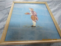 OLD NEEDLE POINT OF LADY IN PROFESSIONAL FRAME