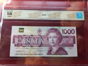 5x CAD 1988 $1000 Dollar Bills in Sequence, Replacement, AUNC 58