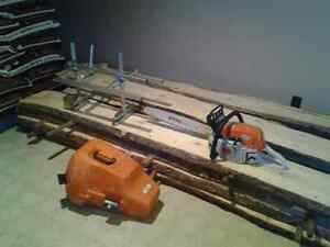 wood stove   And CHAINSAW WITH ALASKIAN MILL