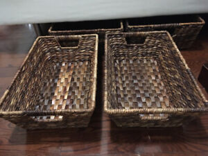 Four Pottery Barn Havana underbed baskets for sale