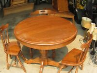 Pedestal table and 3 chairs