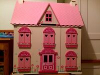 ELC Rosebud Cottage + Le Toy Van furniture and Budkin figures dolls house