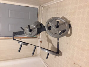Various weights and weight rack/tree