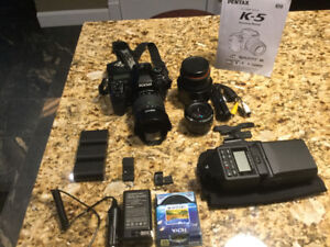 Pentax K5 with lens and accessories