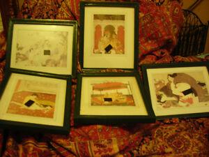 Framed Asian art -- 5  illustrations (KamaSutra?)