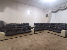 Leather Sofas 8 seats perfect condition curved