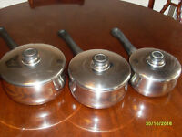 7 Stainless Steel Pans, 2 non stick frypans and a non stick milkpan
