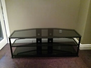 TV STAND.......BLACK METAL AND GLASS