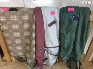 Winter horse blankets, fly sheets and masks