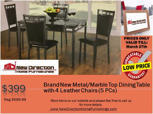 ◆Brand New 5PCS Metal/Marble Top Dining Set@New Direction