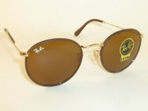01a1cde9c8 New RAY BAN Round Metal Brown Leather RB 3475Q 9041 B-15 Brown Lenses