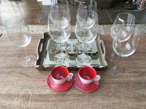 7 Wine glasses & brand new Starbucks cappuccino mugs