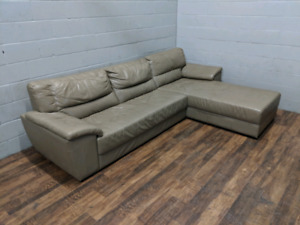 (Free Delivery)  - Tan real leather sectional sofa