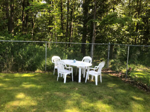 Table and chairs , outdoor, white plastic.  Good condition.