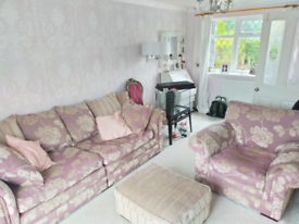 Pink beige fabric chair and sofa 4 seater