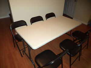 Foldable Table and 6 Chairs