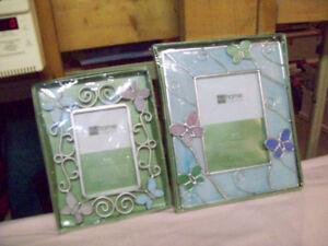 2 stained glass and metal picture frames. Butterfly design