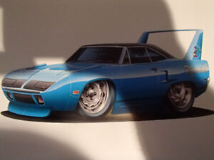 "1970 PLYMOUTH SUPERBIRD BLUE WALL ART PICTURE 11"" X 8.5"""