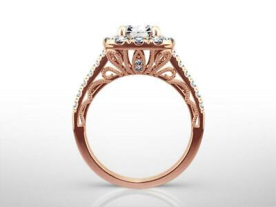 DIAMOND HALO SET RING SIDE STONES 14K ROSE GOLD RED 4 PRONGS 2.01 CT CERTIFIED
