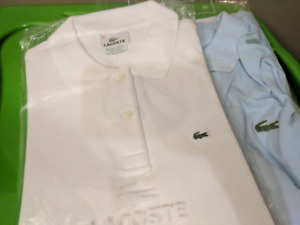 Real Lacoste polos white & blue - $50 each