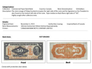 Imperial Bank of Canada - $50 Note, November 1, 1923