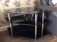 TV Black Glass corner stand / unit