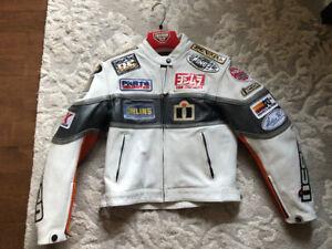 Manteau de moto pour femme en cuir blanc de marque Icon taille M